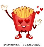 french fries mascot cartoon in... | Shutterstock .eps vector #1952699002