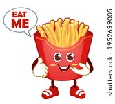 french fries mascot cartoon in... | Shutterstock .eps vector #1952699005