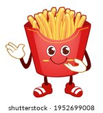 french fries mascot cartoon in... | Shutterstock .eps vector #1952699008