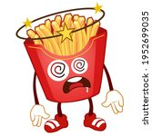 french fries mascot cartoon in... | Shutterstock .eps vector #1952699035