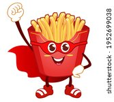 french fries mascot cartoon in... | Shutterstock .eps vector #1952699038