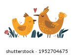 two enamored birds hand drawn... | Shutterstock .eps vector #1952704675