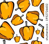 doodle art yellow bell pepper... | Shutterstock .eps vector #1952726602