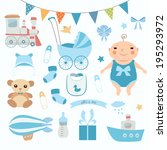 baby boy shower.  set of vector ... | Shutterstock .eps vector #195293972