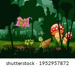 Butterfly And Snail In The...