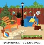 suburban backyard in summer ...   Shutterstock .eps vector #1952984938