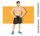strong and muscular bodybuilder ...   Shutterstock .eps vector #1953026692