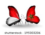 two butterflies with flags on... | Shutterstock . vector #195303206