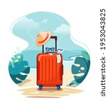red travel suitcase on tropical ...   Shutterstock .eps vector #1953043825