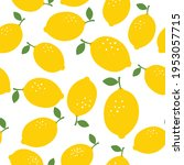 lemon seamless pattern vector... | Shutterstock .eps vector #1953057715