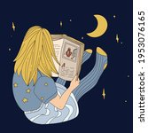 child is reading book at night. ... | Shutterstock .eps vector #1953076165