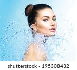 beautiful model woman with... | Shutterstock . vector #195308432