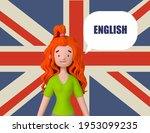 learning english concept. red... | Shutterstock . vector #1953099235