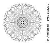 mandala with flowers  leaves... | Shutterstock .eps vector #1953123232