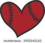 baseball heart   baseball design   Shutterstock .eps vector #1953142132