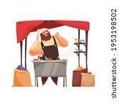 asian market stall with happy... | Shutterstock .eps vector #1953198502