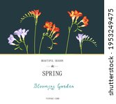 greeting card with freesia...   Shutterstock . vector #1953249475
