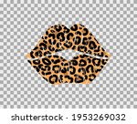 kissing lips with leopard print ...   Shutterstock .eps vector #1953269032