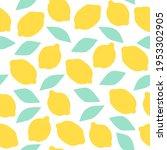 fresh lemons seamless pattern ... | Shutterstock . vector #1953302905