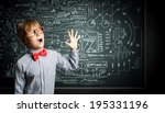 genius boy in red glasses near... | Shutterstock . vector #195331196