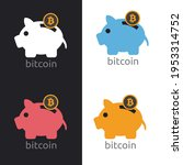 saving piggy bank with bitcoin  ... | Shutterstock .eps vector #1953314752