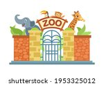 zoo entrance gate. the zoo is... | Shutterstock .eps vector #1953325012