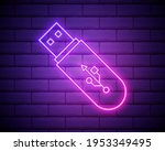 usb flash driver neon glow icon....