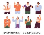 set of happy people pointing at ...   Shutterstock .eps vector #1953478192