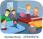 illustration of kids practicing ... | Shutterstock .eps vector #195349676