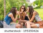 3 pretty woman eating ice cream ... | Shutterstock . vector #195350426