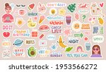 diary stickers. words ... | Shutterstock .eps vector #1953566272