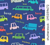 cartoon cars seamless pattern | Shutterstock . vector #195359672