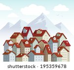 illustration of cute little town | Shutterstock . vector #195359678