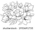coloring page with magnolia and ... | Shutterstock .eps vector #1953691735