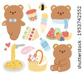 pastel concept.cute bear with... | Shutterstock .eps vector #1953742552