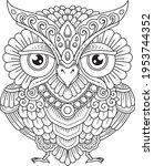 owl mandala decorative design.... | Shutterstock .eps vector #1953744352