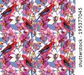 tropical tiled pattern   parrot ... | Shutterstock . vector #195377045
