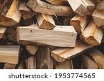 Chopped Firewood Stacked. Wood...