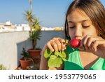 pretty teenage girl eating a...
