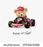 ready set go slogan with bear... | Shutterstock .eps vector #1953823588