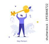 Man Holding Golden Key. Concept ...