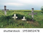 Old Wooden And Stone Crosses On ...
