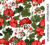seamless pattern with geraniums ... | Shutterstock .eps vector #1953865465