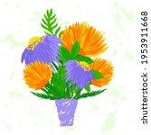 bouquet flowers in vase hand... | Shutterstock .eps vector #1953911668