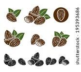 almonds set. vector  | Shutterstock .eps vector #195393686