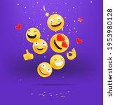 happy emojis falling down... | Shutterstock .eps vector #1953980128