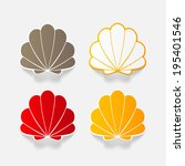 realistic paper sticker  shell. ... | Shutterstock .eps vector #195401546