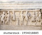 bas relief on stone wall of...   Shutterstock . vector #1954018885