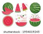 watermelon set  watermelon cut  ...   Shutterstock .eps vector #1954019245