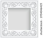 square frame with lace border... | Shutterstock .eps vector #1954046425